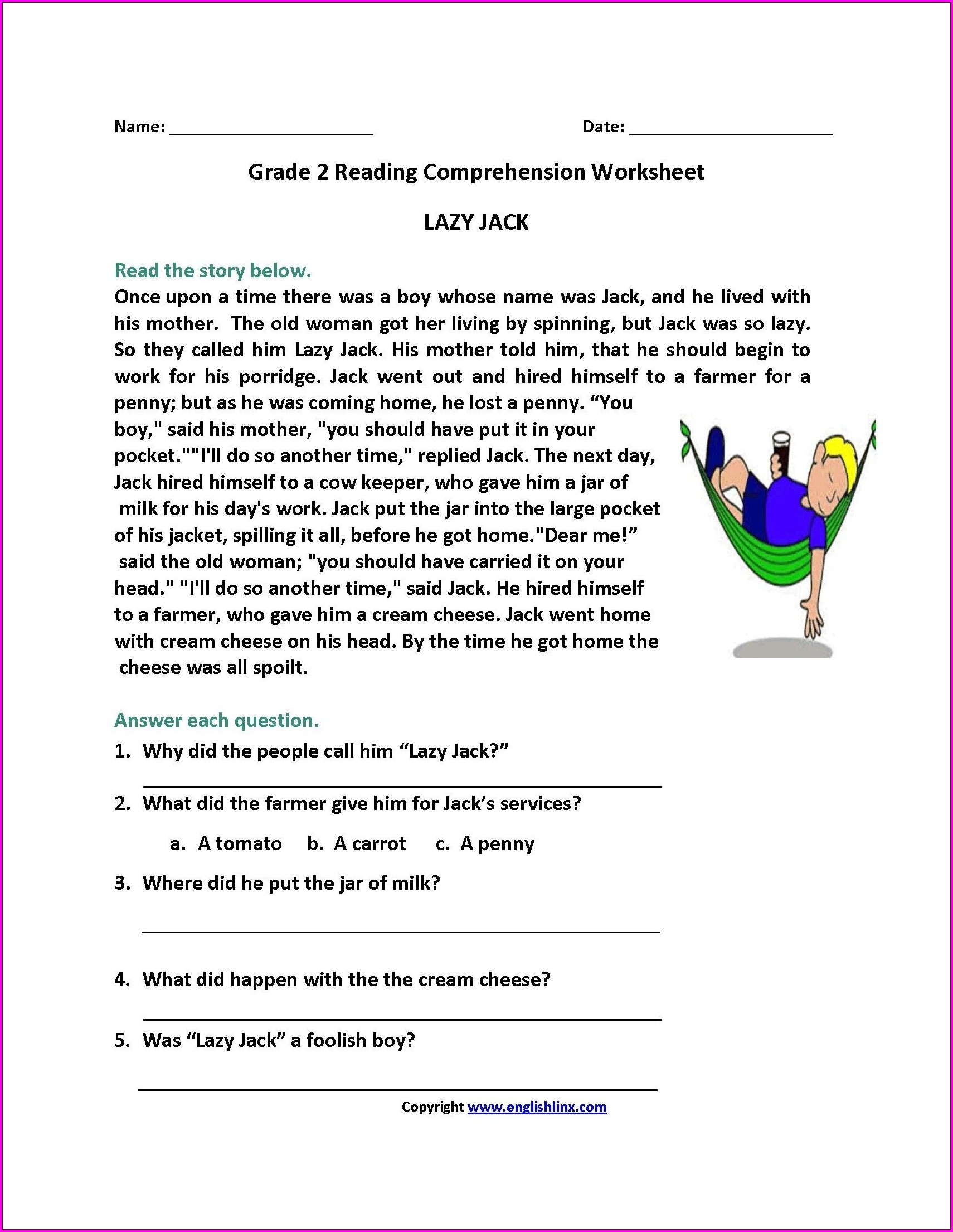 Reading Printable Worksheets For 2nd Graders