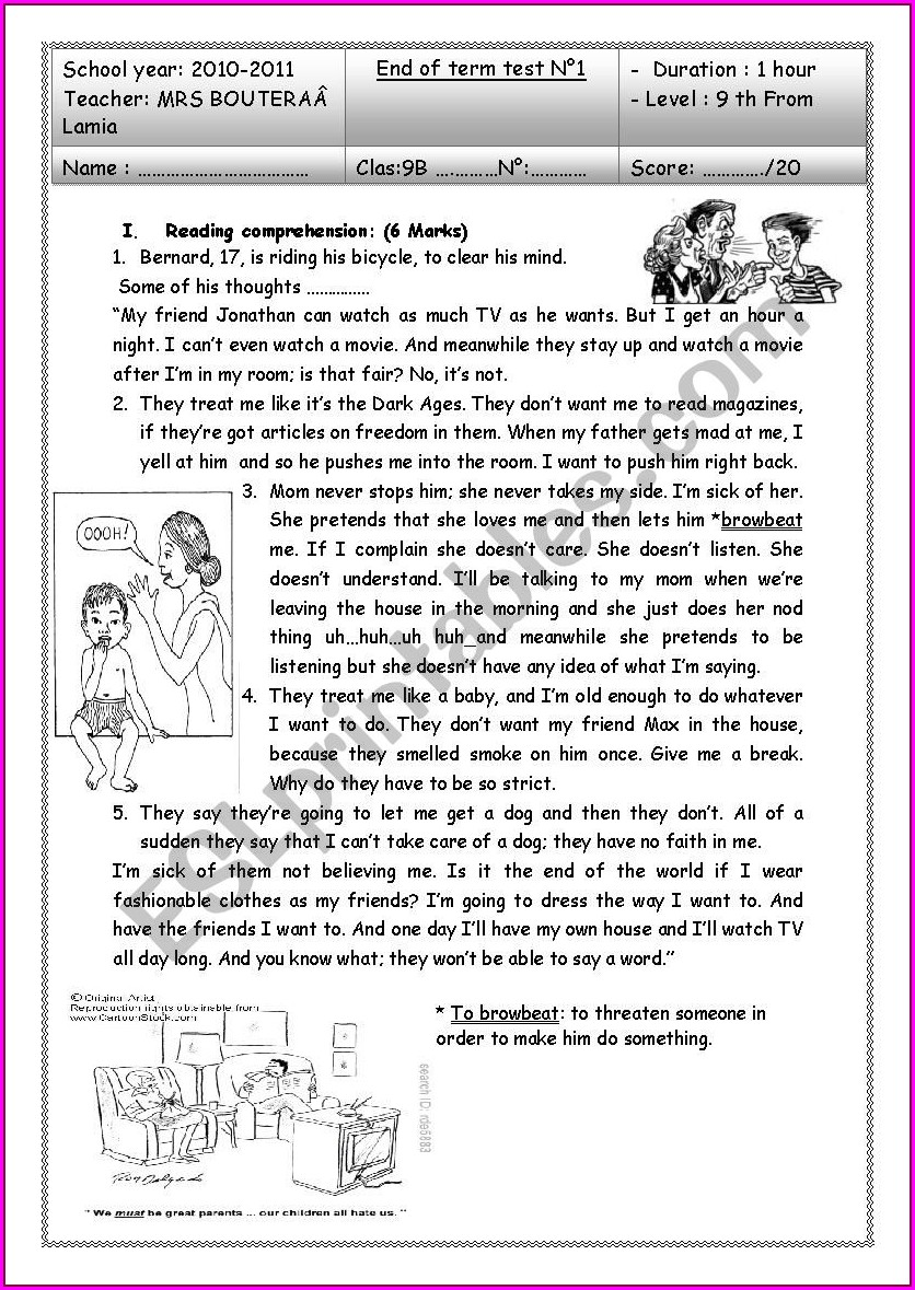 Reading Worksheet About Family