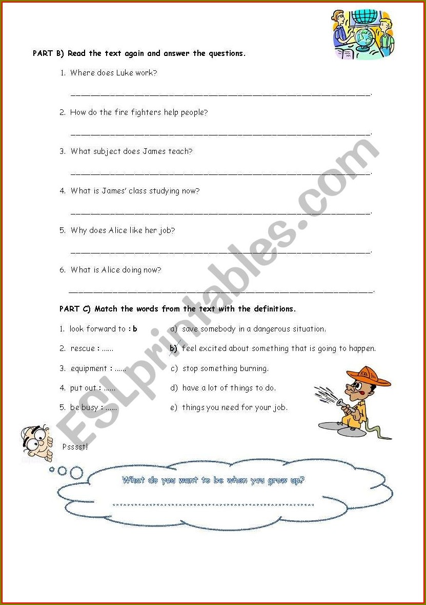 Reading Worksheet About Jobs