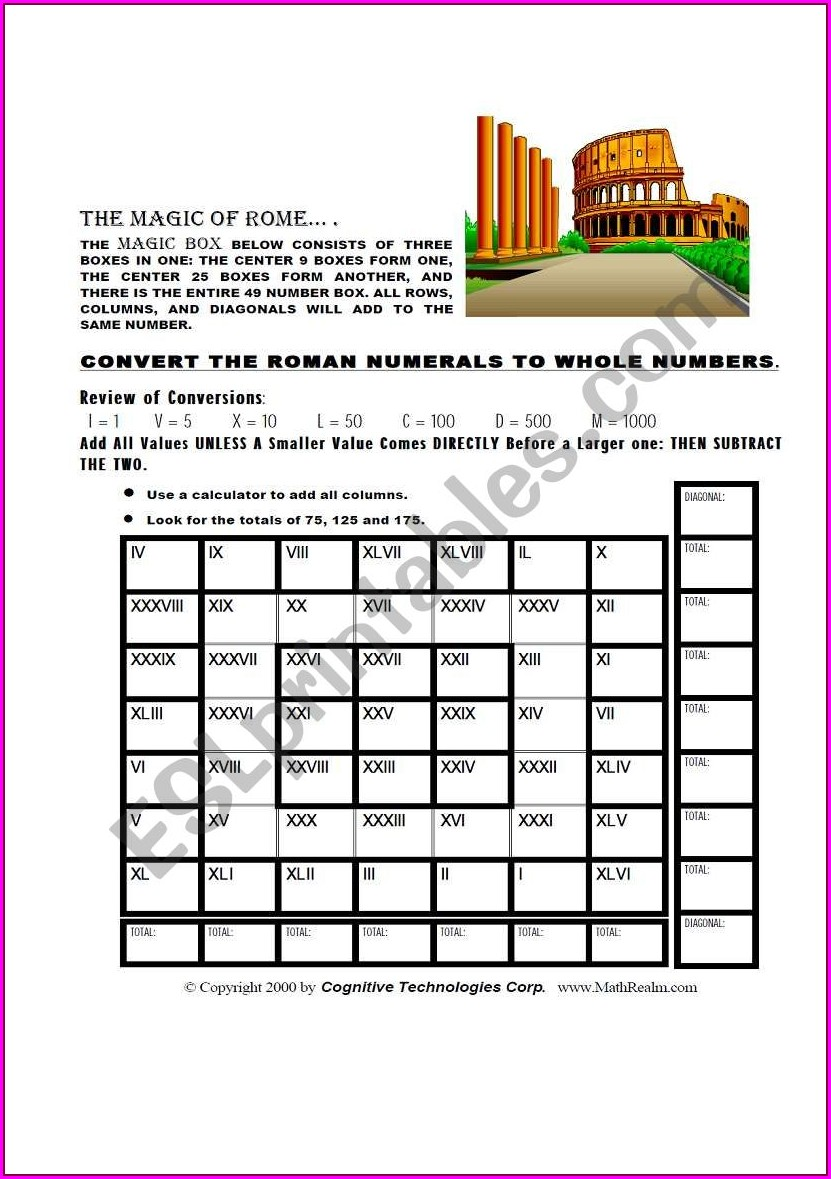 Roman Numeral Matching Worksheet