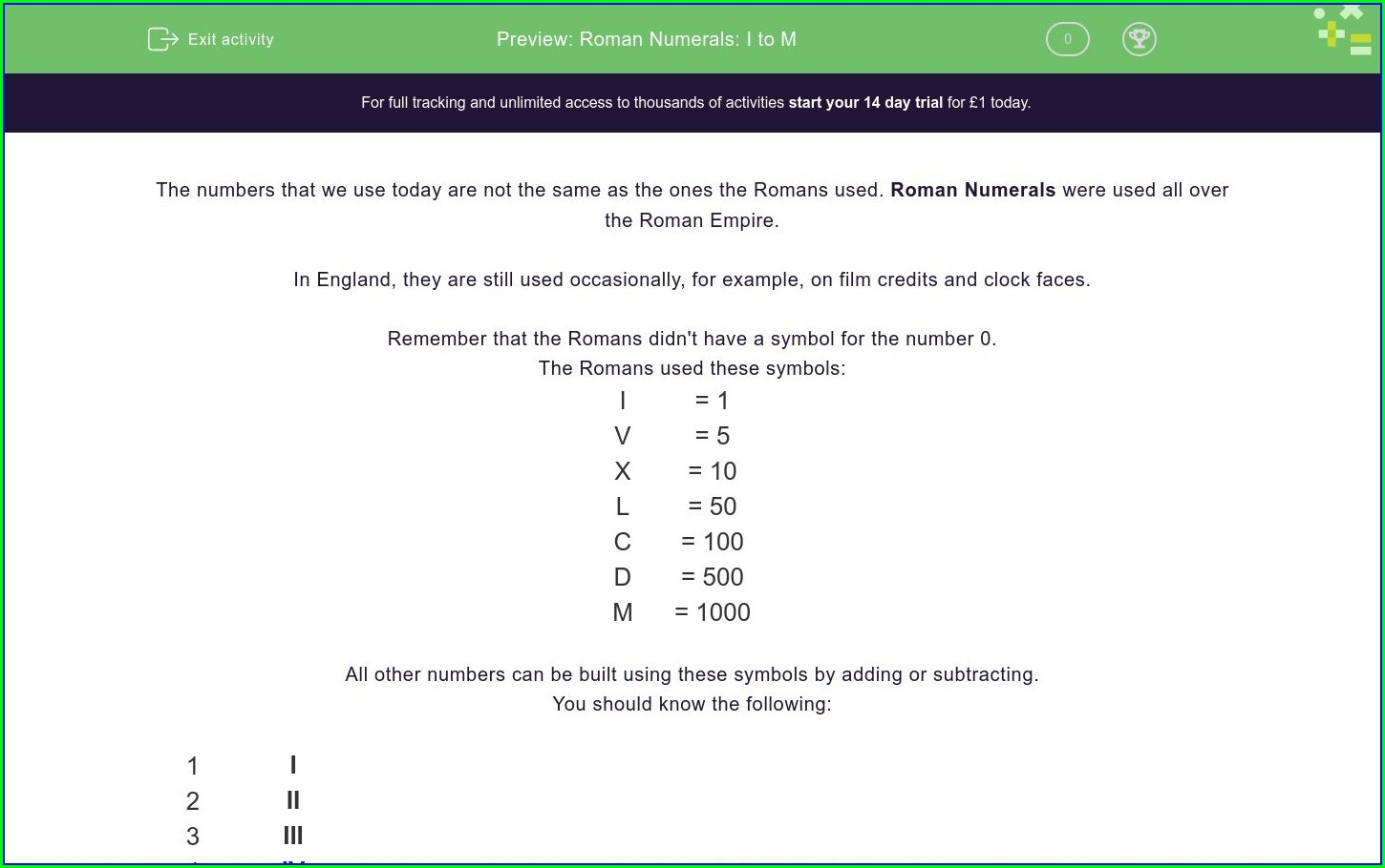 Roman Numerals To M Worksheet