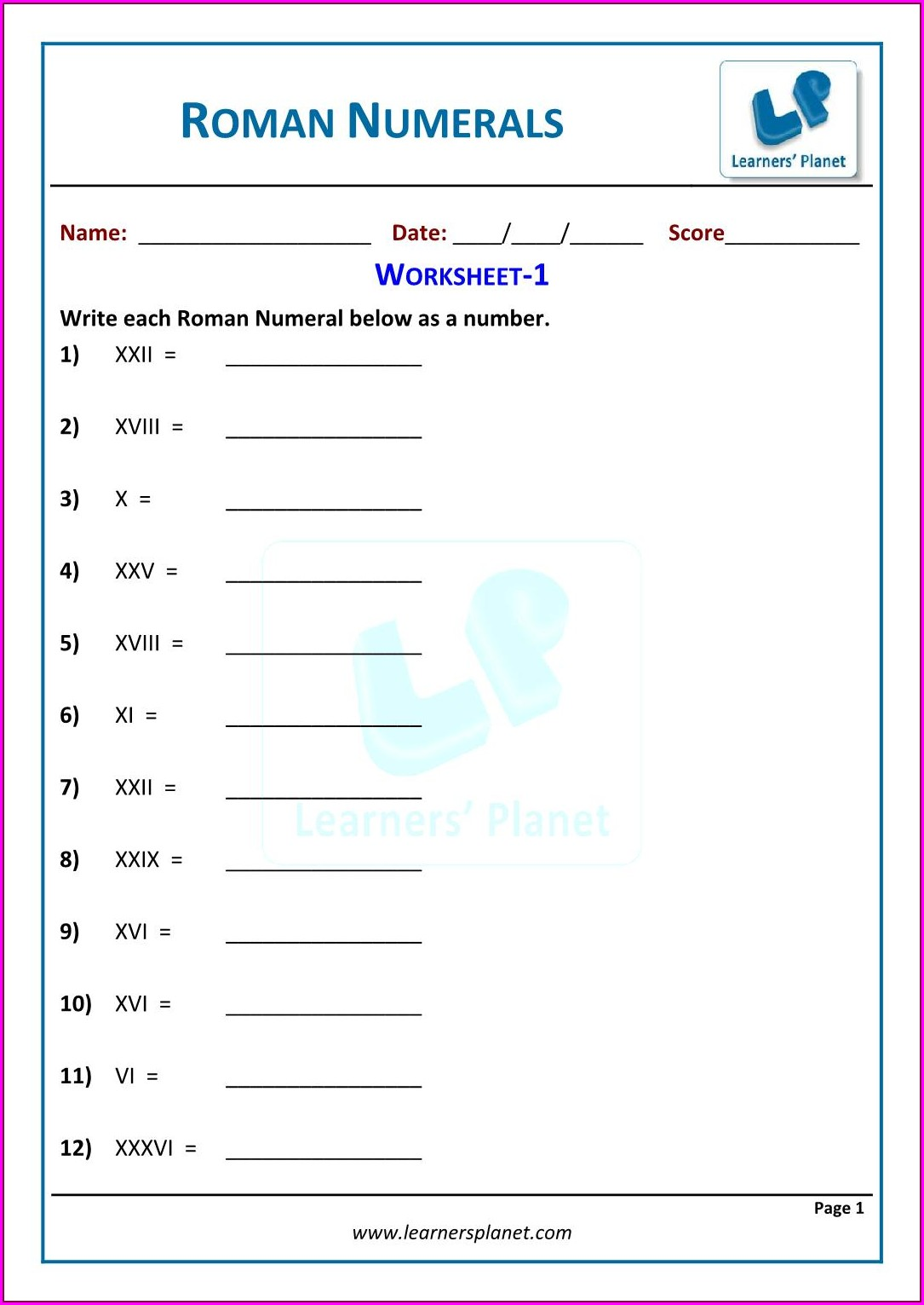 Roman Numerals Worksheet For Grade 2