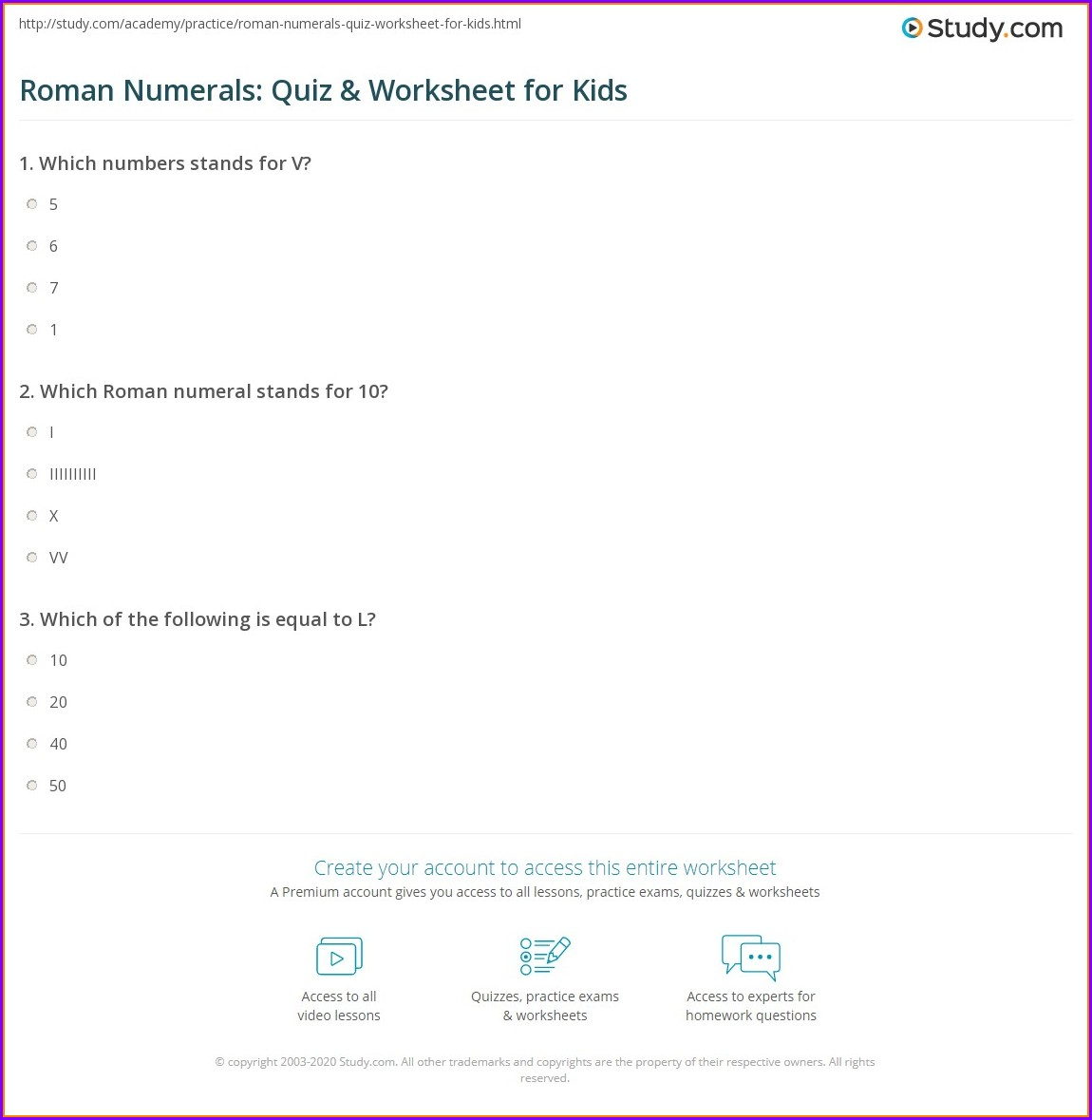 Roman Numerals Worksheets To Print