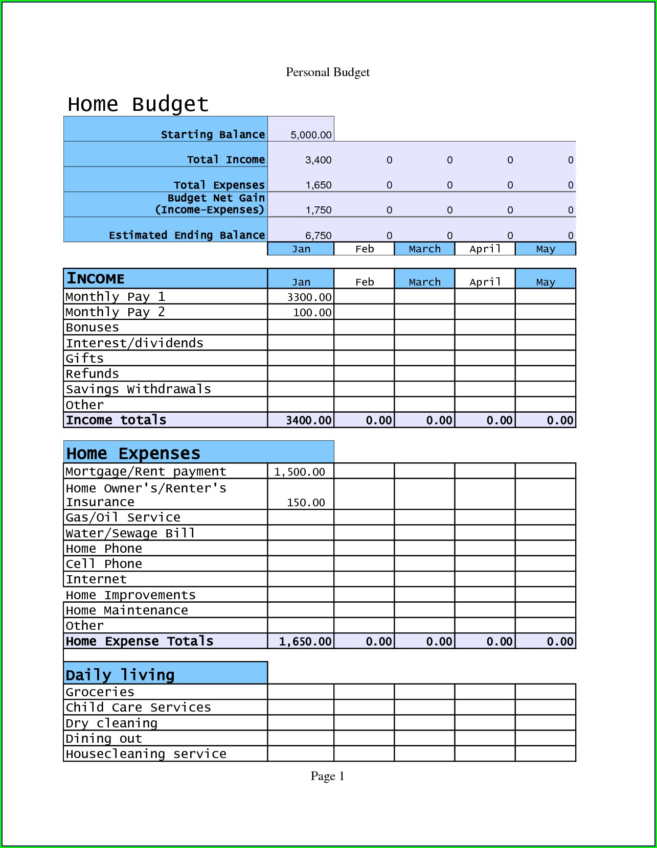 Sample Excel Home Budget Spreadsheet