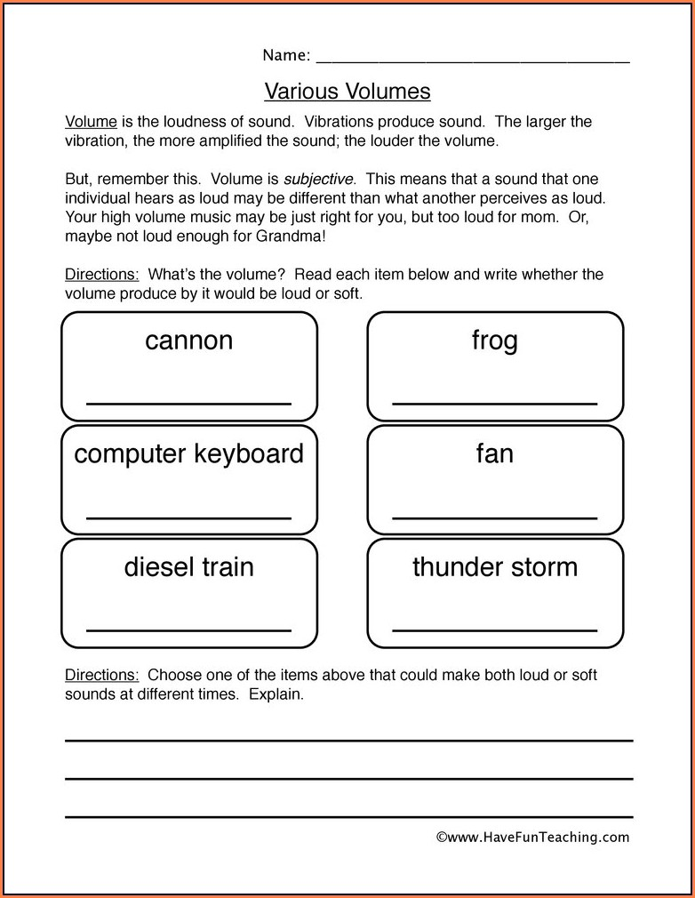 Science Sound Worksheet For Grade 3