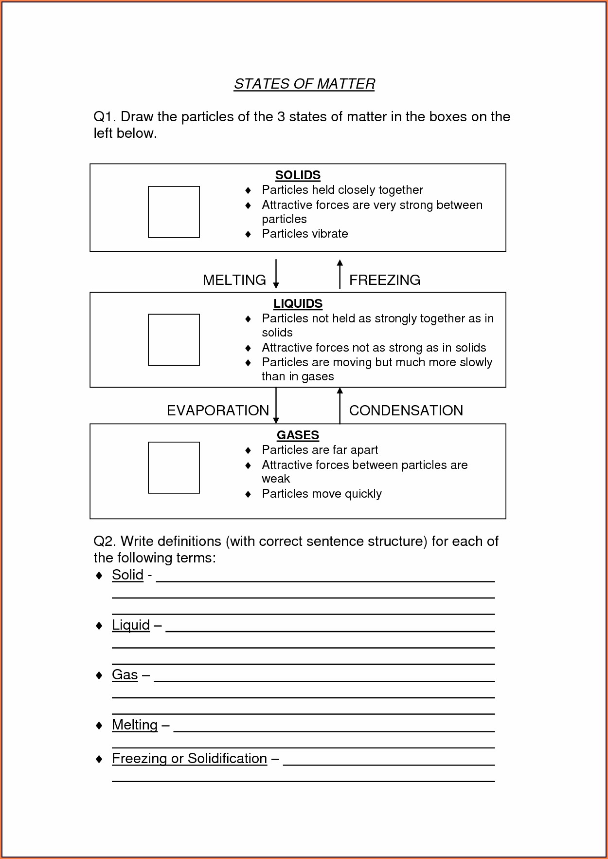 Science Worksheet Grade 5