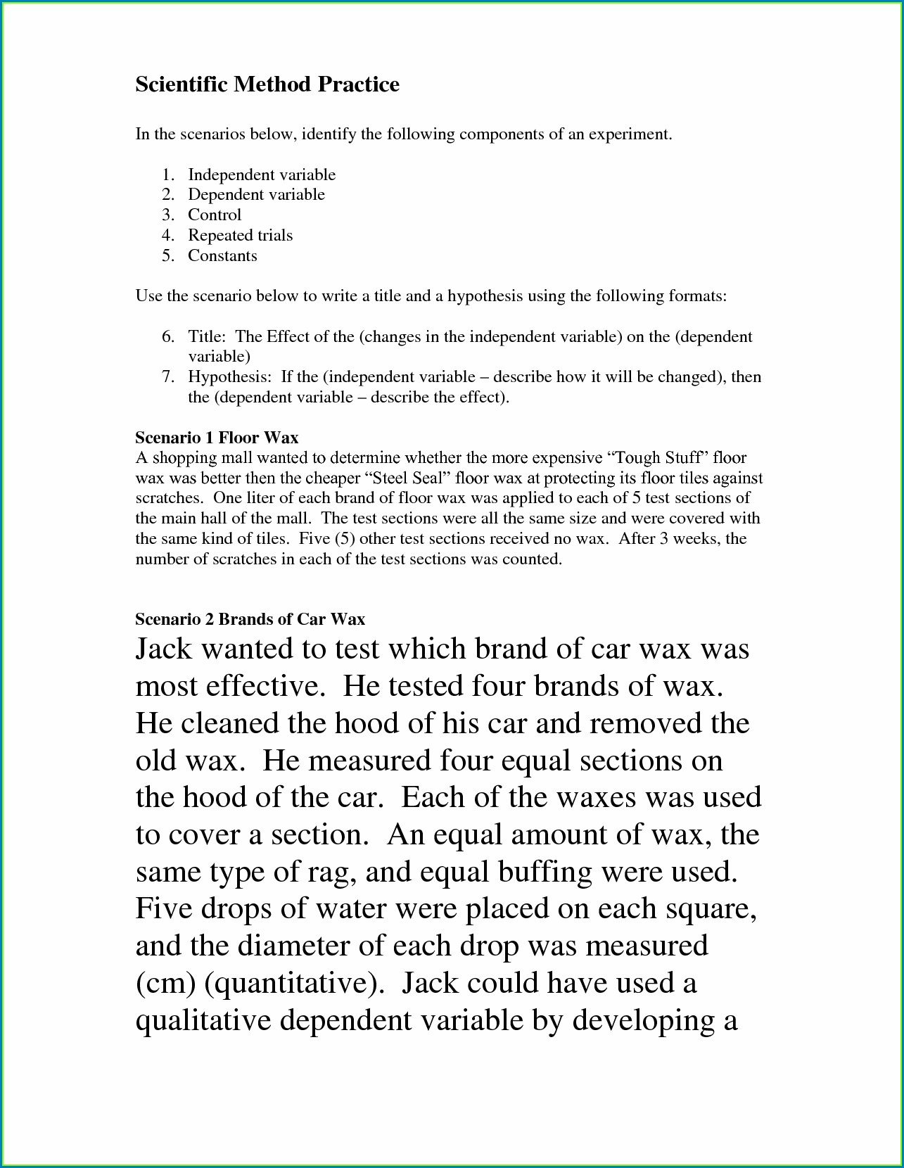 Scientific Method And Reasoning Worksheet Answers