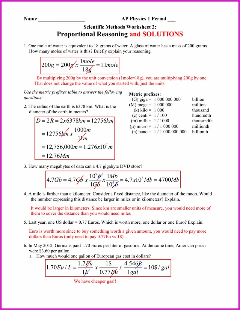 Scientific Method And Reasoning Worksheet