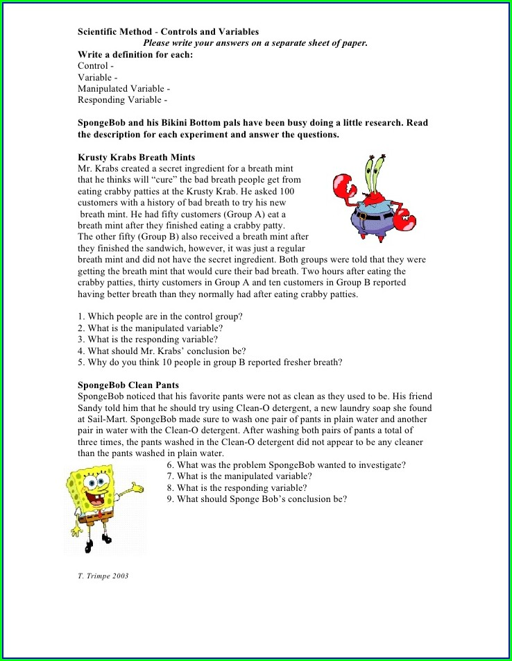 Scientific Method Manipulated And Responding Variables Worksheet Answer Key