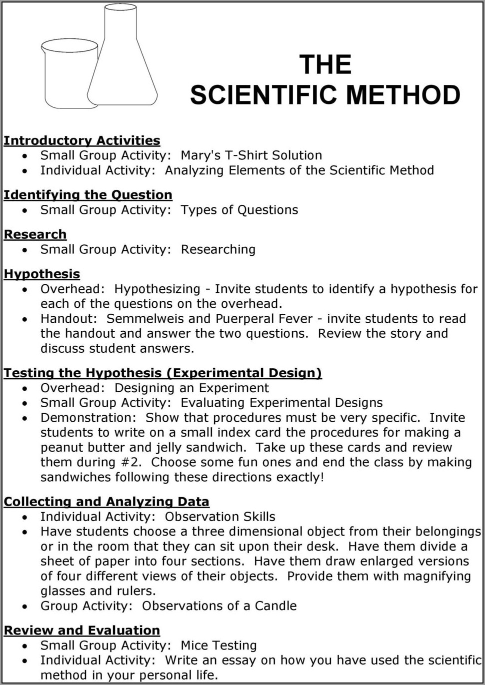 Scientific Method Story Worksheet Analyzing The Elements Of A Scientific Method Answer Key
