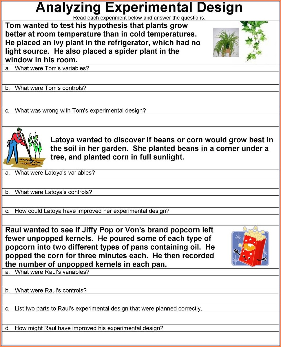 Scientific Method Story Worksheet Analyzing The Elements Of A Scientific Method