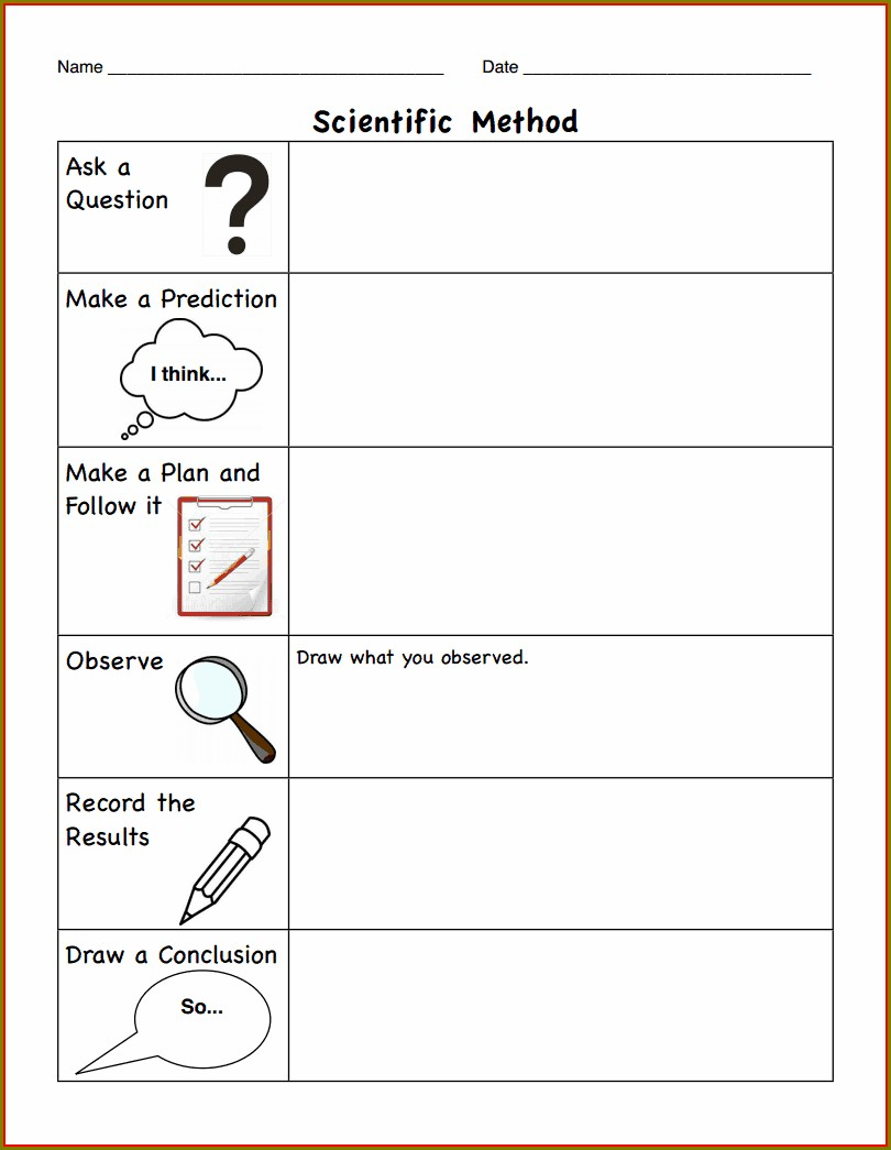 Scientific Method Worksheet Elementary Pdf