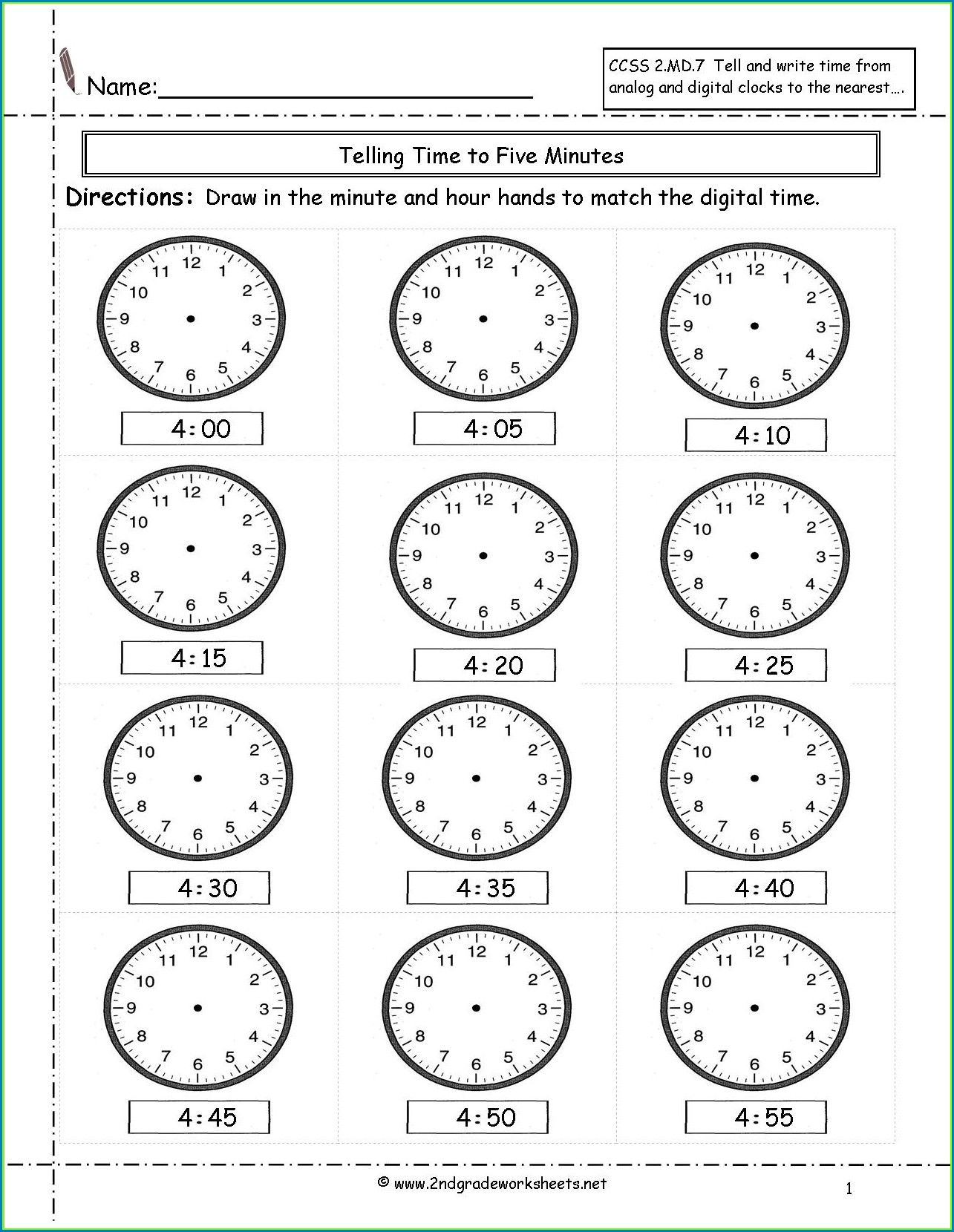 Second Grade 2nd Grade Clock Worksheets
