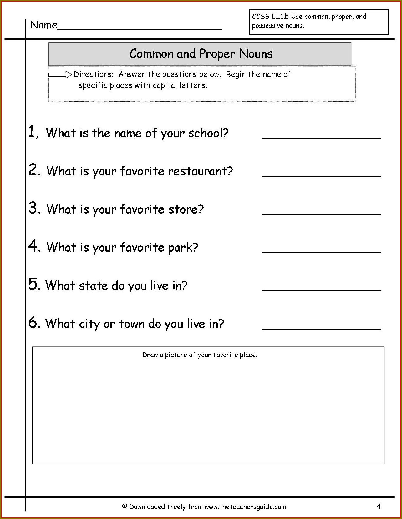 Second Grade Nouns Worksheet For Grade 2