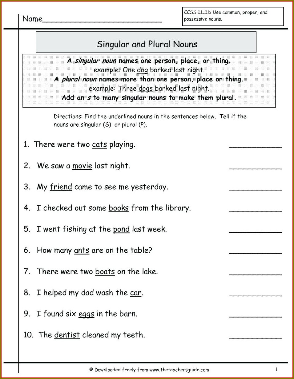 Second Grade Nouns Worksheets