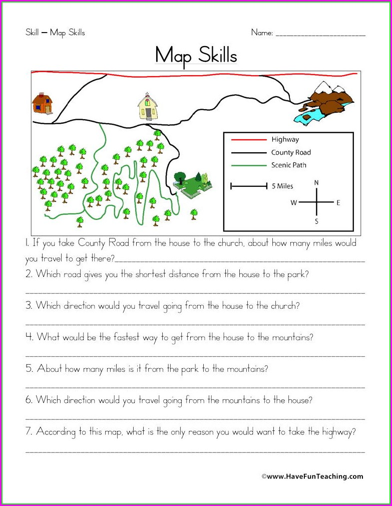 Second Grade Reading A Map Worksheet