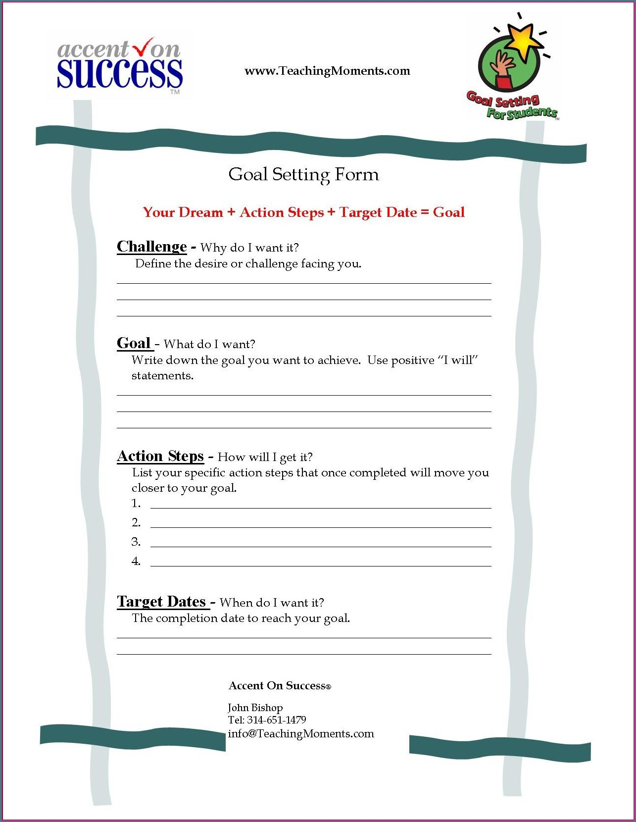 Setting Goals Worksheet For High School Students