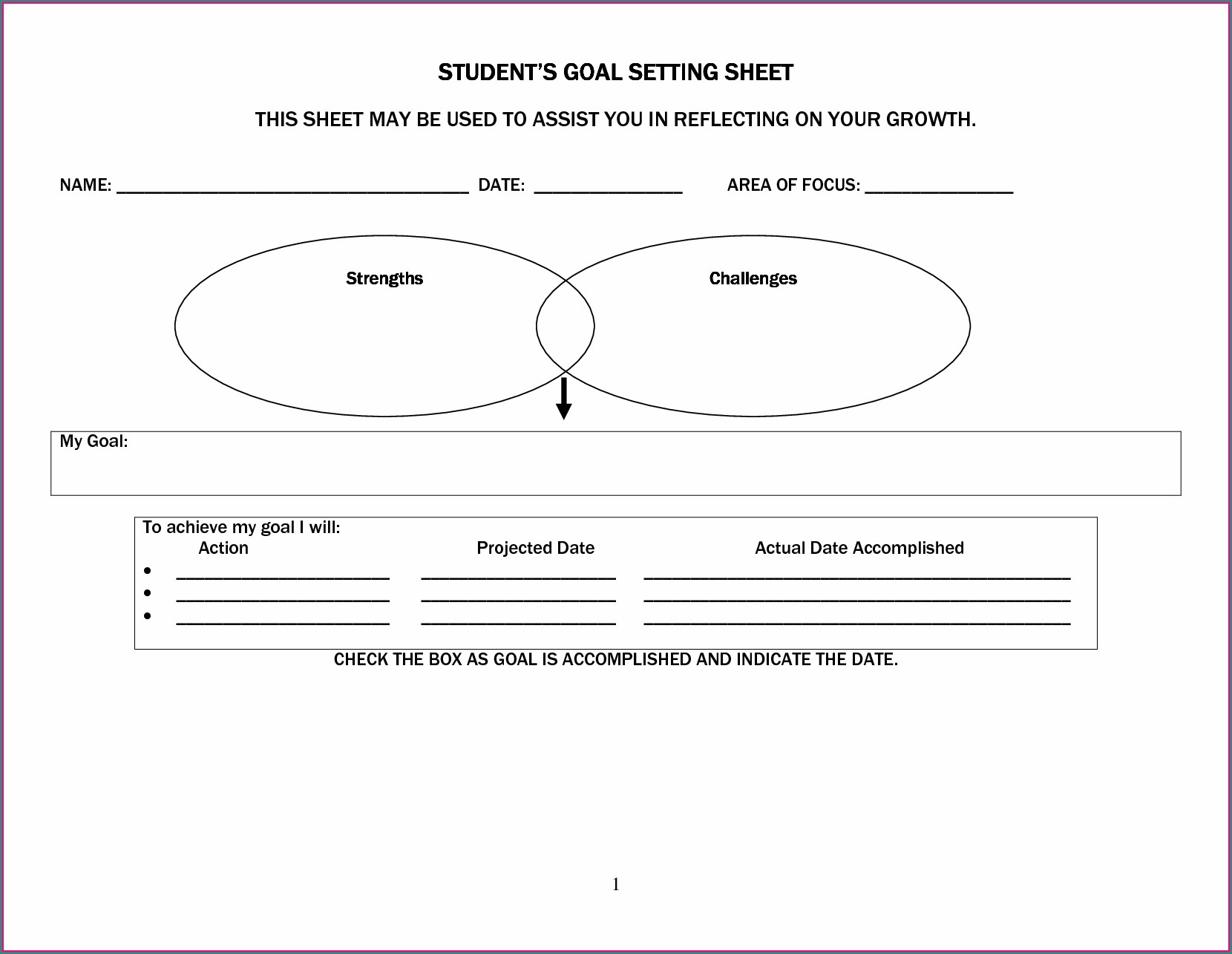 Setting Goals Worksheet For Middle School Students