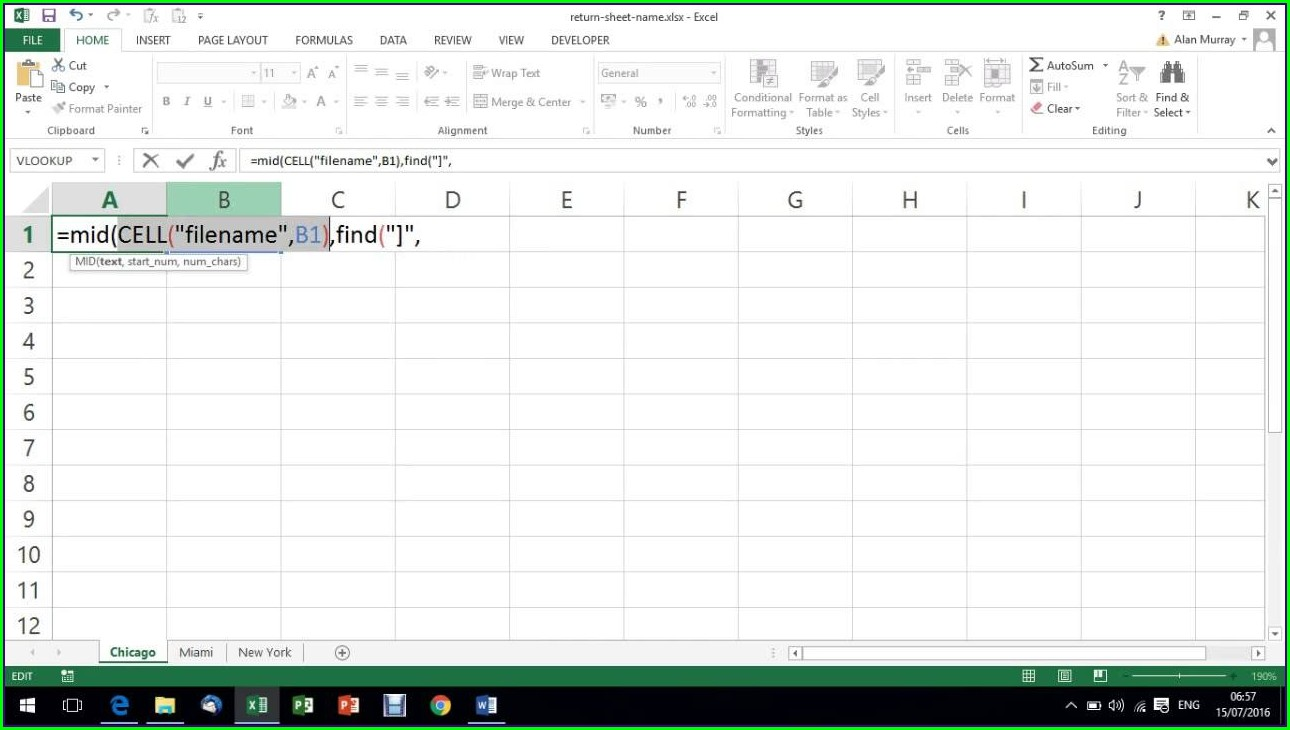 Sheet Name In Excel Cell