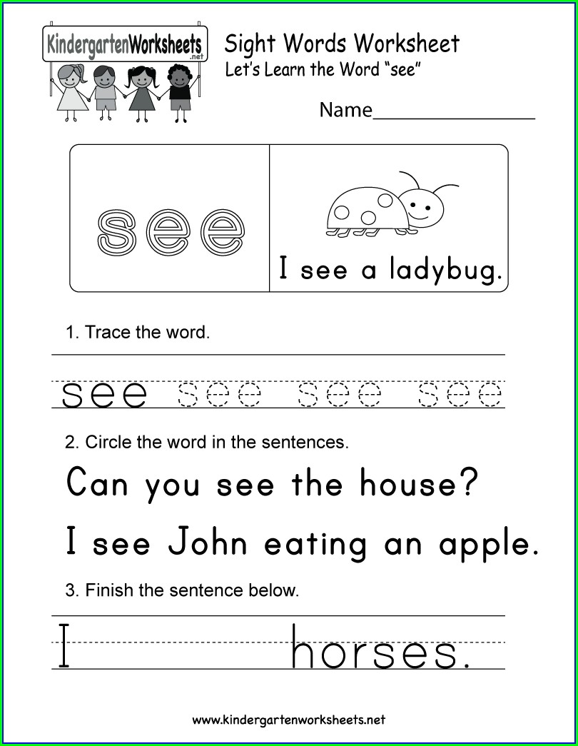 Sight Word See Worksheets For Kindergarten