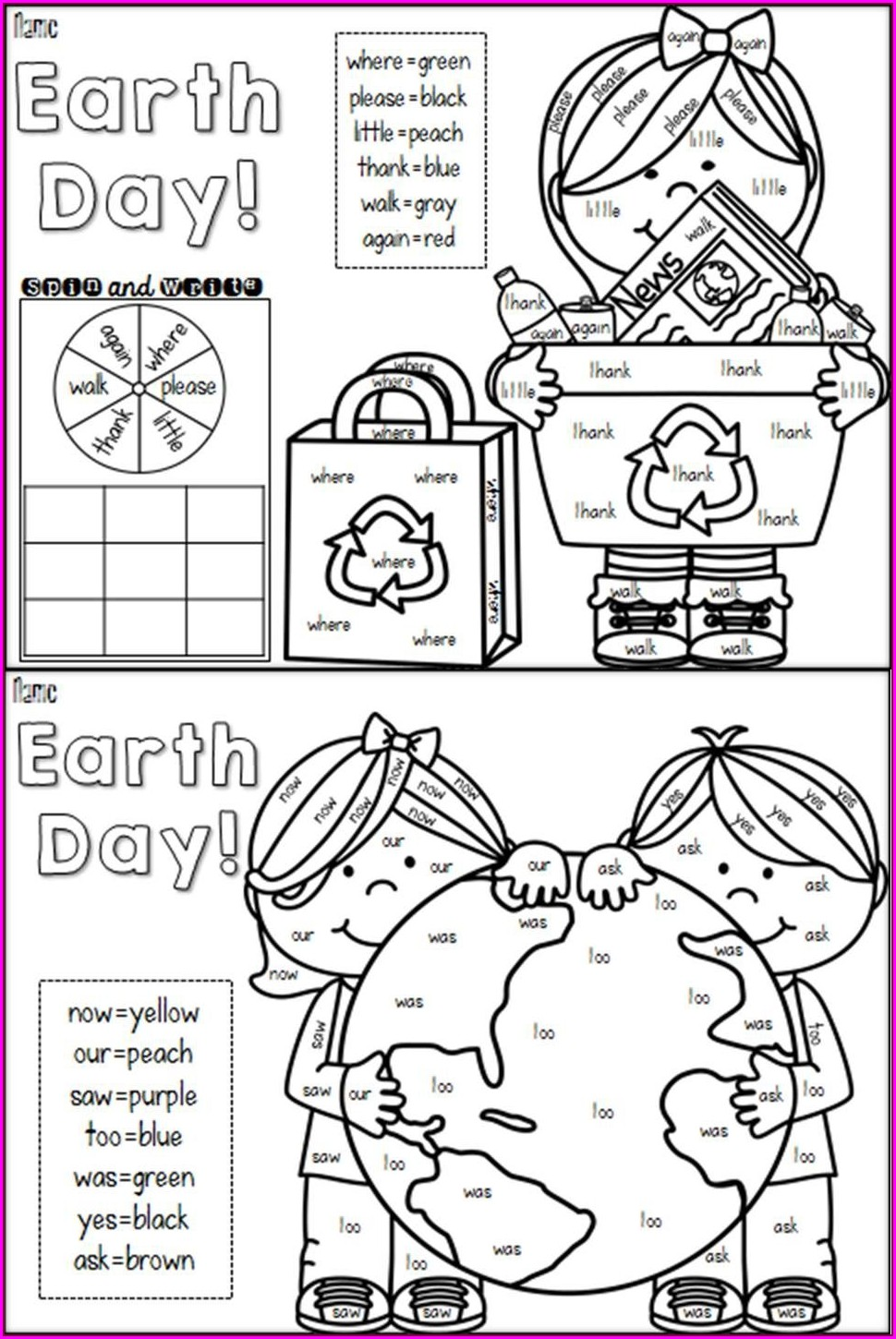 Sight Word Worksheet Here