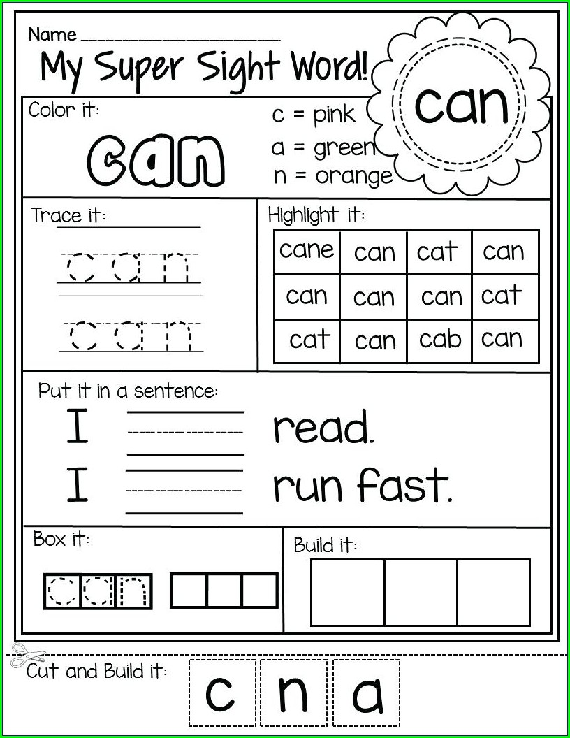 Sight Word Worksheets For 1st Grade