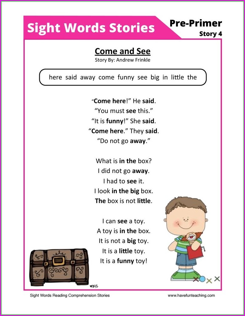 Sight Words And Worksheet