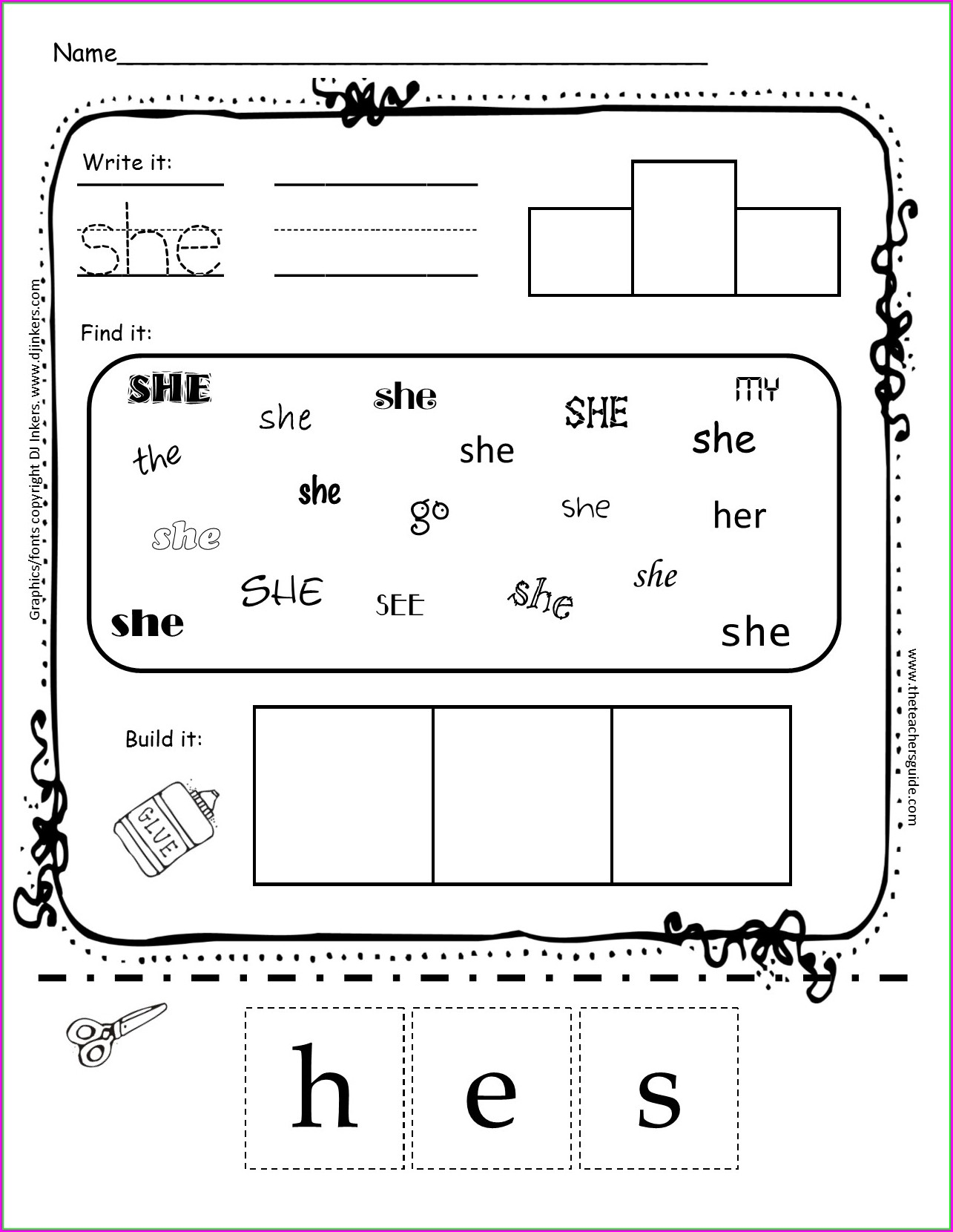 Sight Words He And She Worksheets