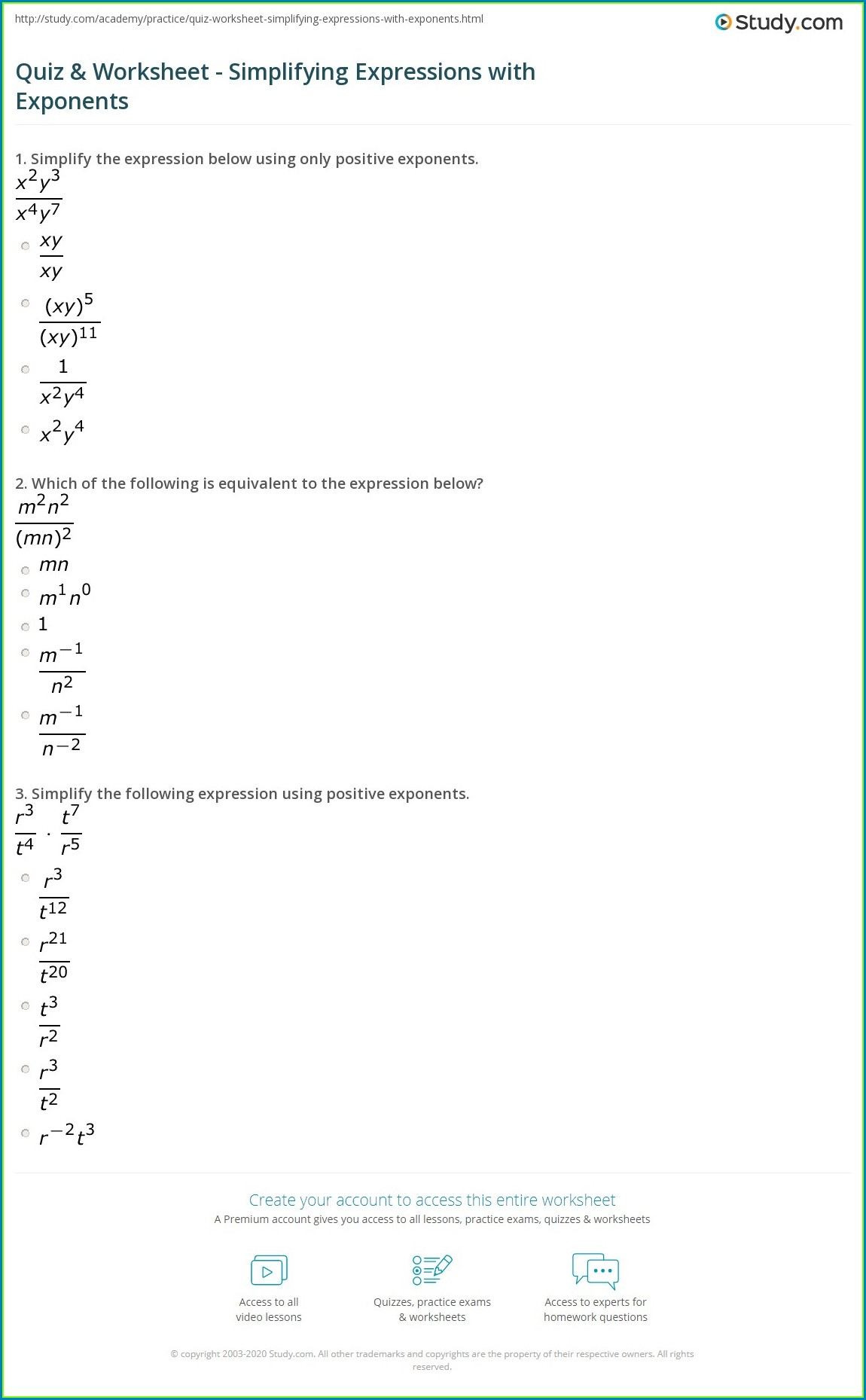 Simplifying Expressions With Rational Numbers Worksheet