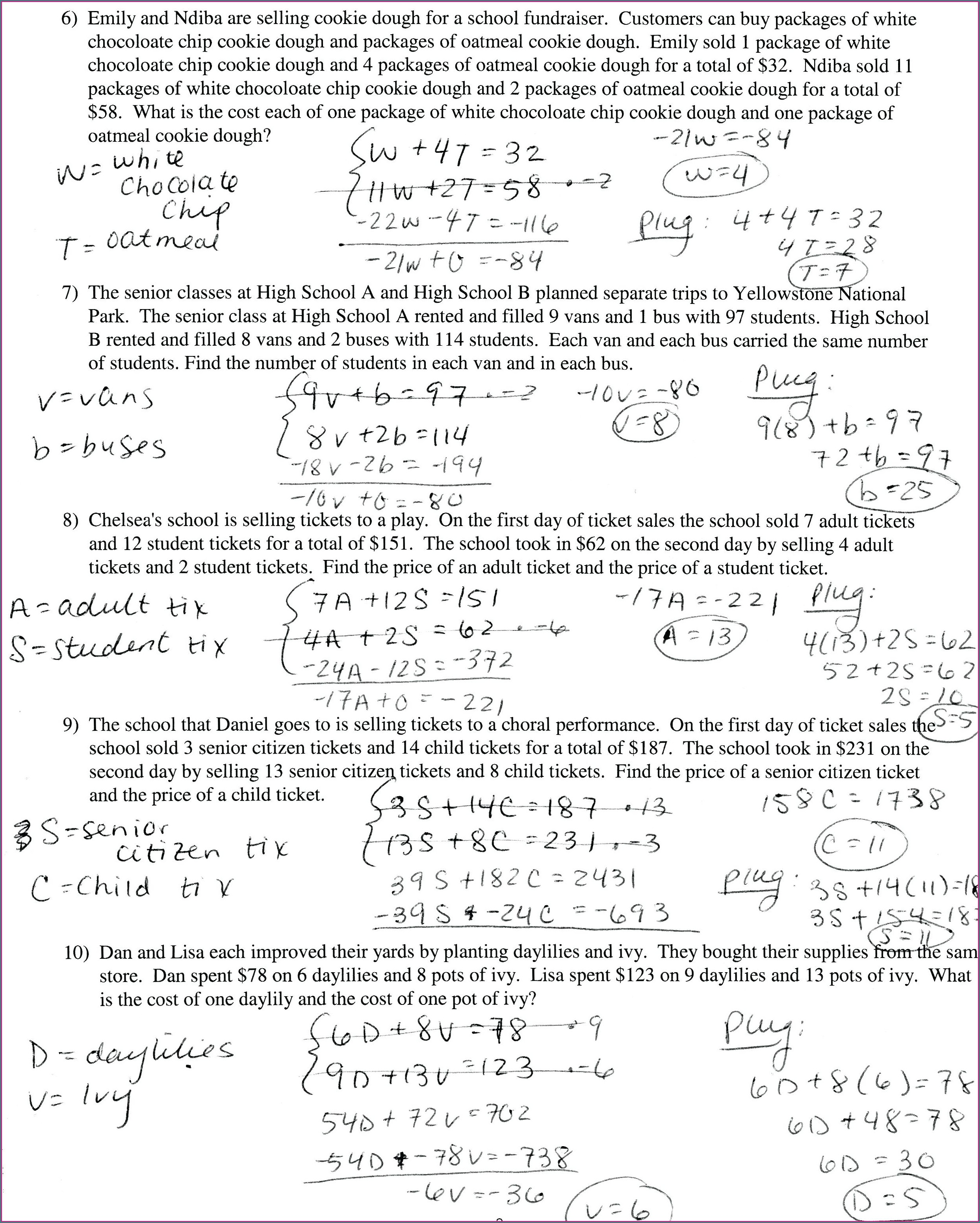 Simultaneous Equations Word Problems Worksheet With Answers Pdf