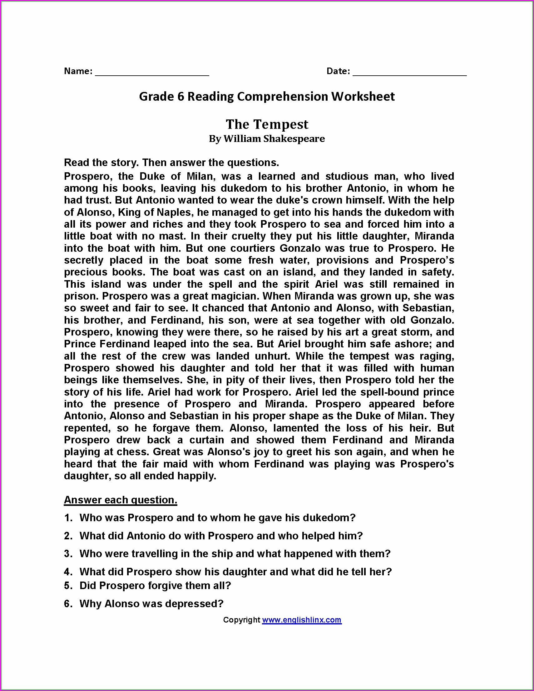 Sixth Grade English Grade 6 Worksheet