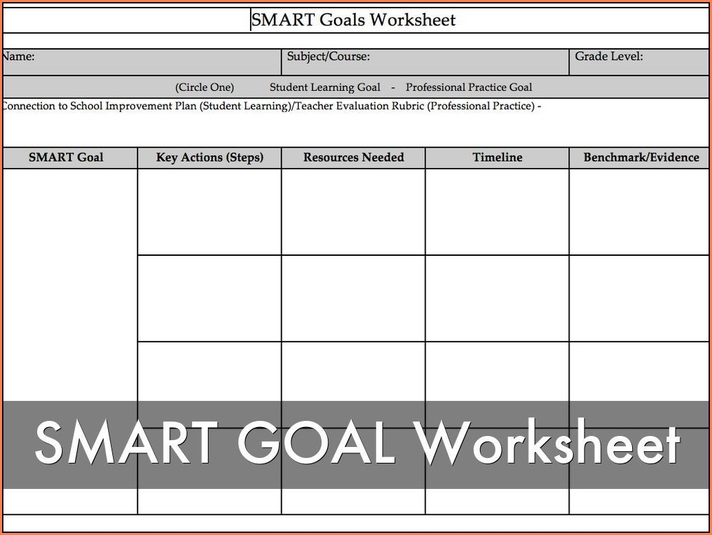 Smart Goals Worksheet For Fitness