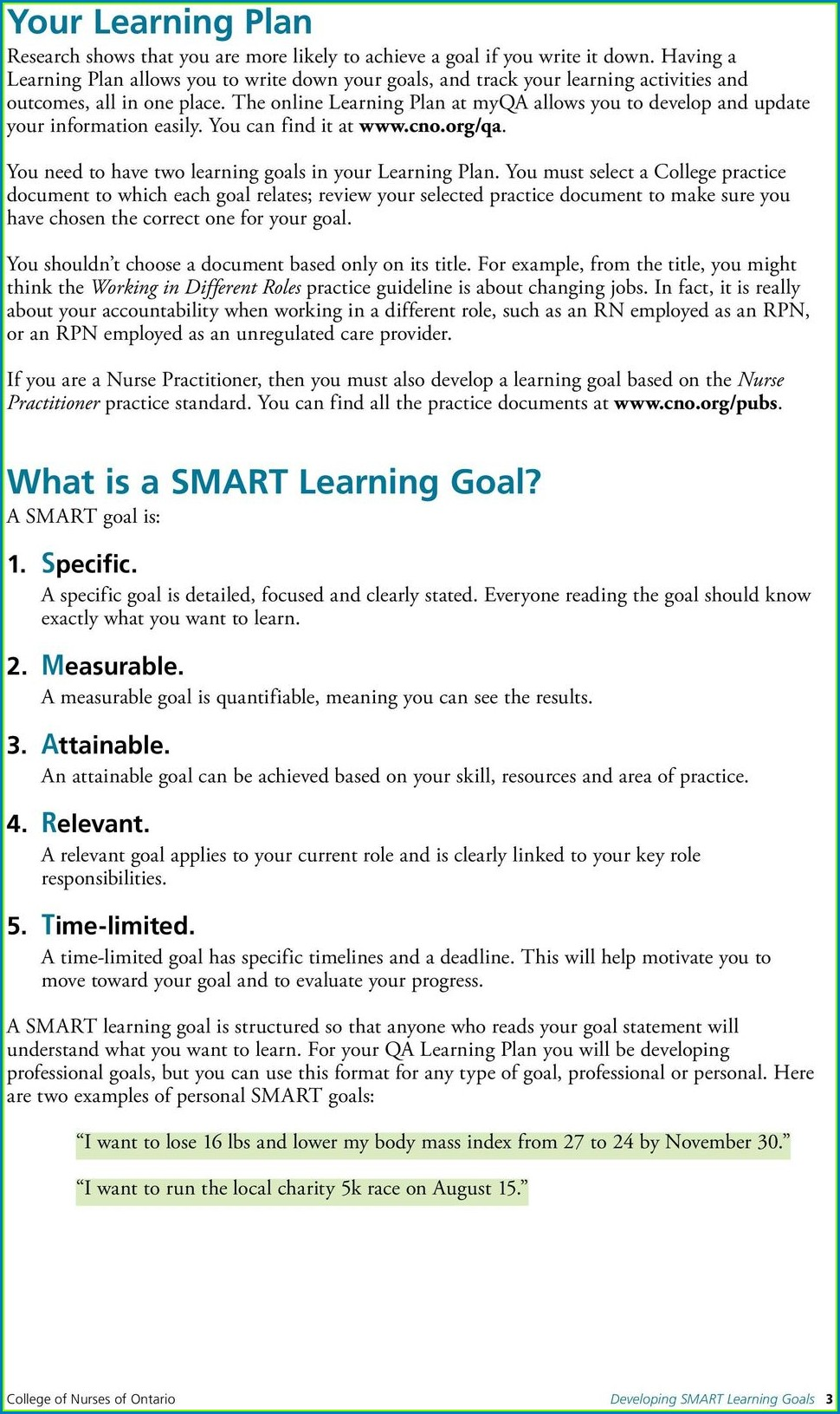 Smart Goals Worksheet For Nursing