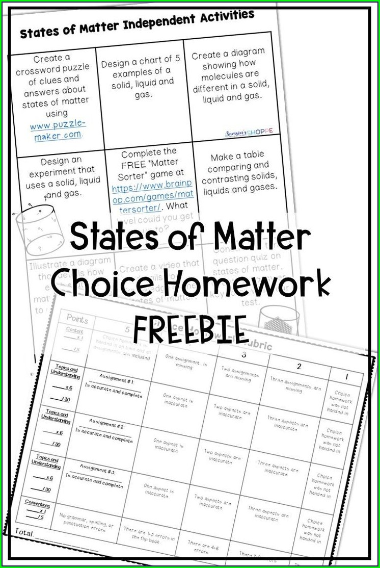 States Of Matter Free Printable Worksheet