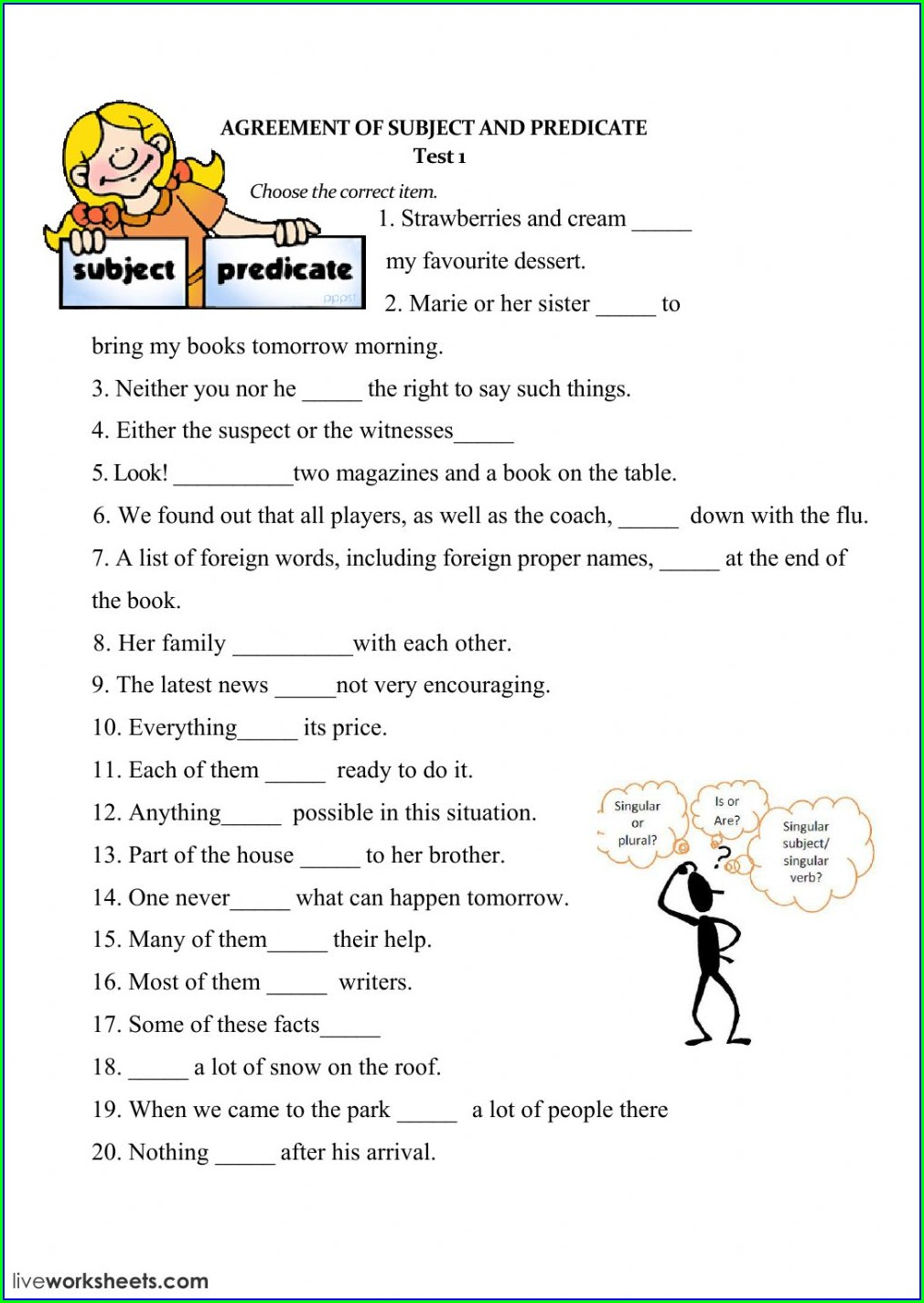 Subject Verb Agreement Exercises With Answers For Class 9