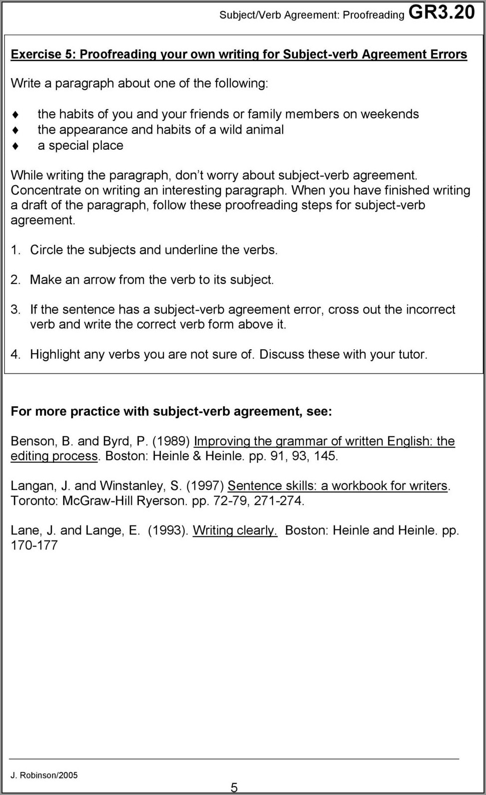 Subject Verb Agreement Paragraph Exercises With Answers Pdf