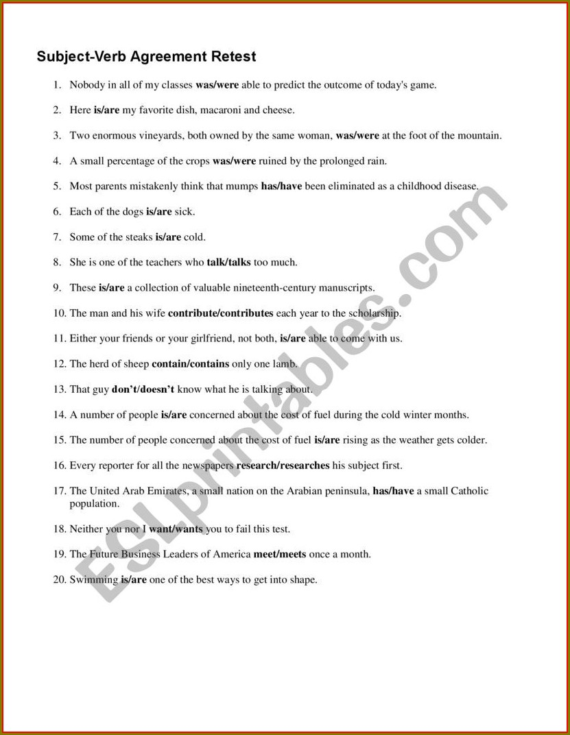 Subject Verb Agreement Quiz And Answers Pdf
