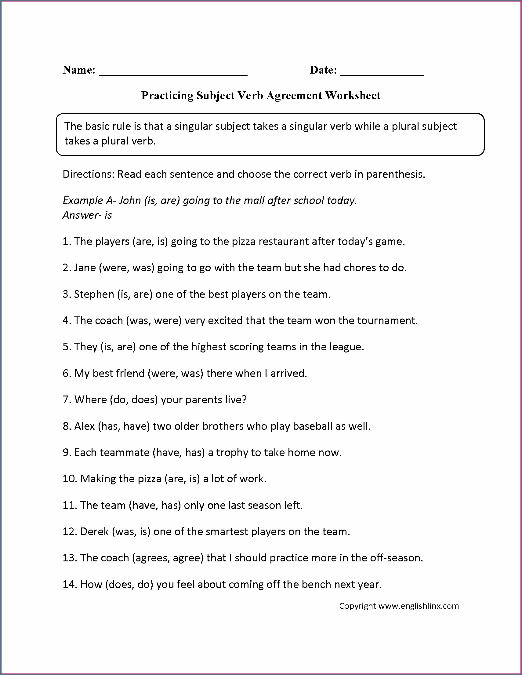 Subject Verb Agreement Quiz In Paragraph Form