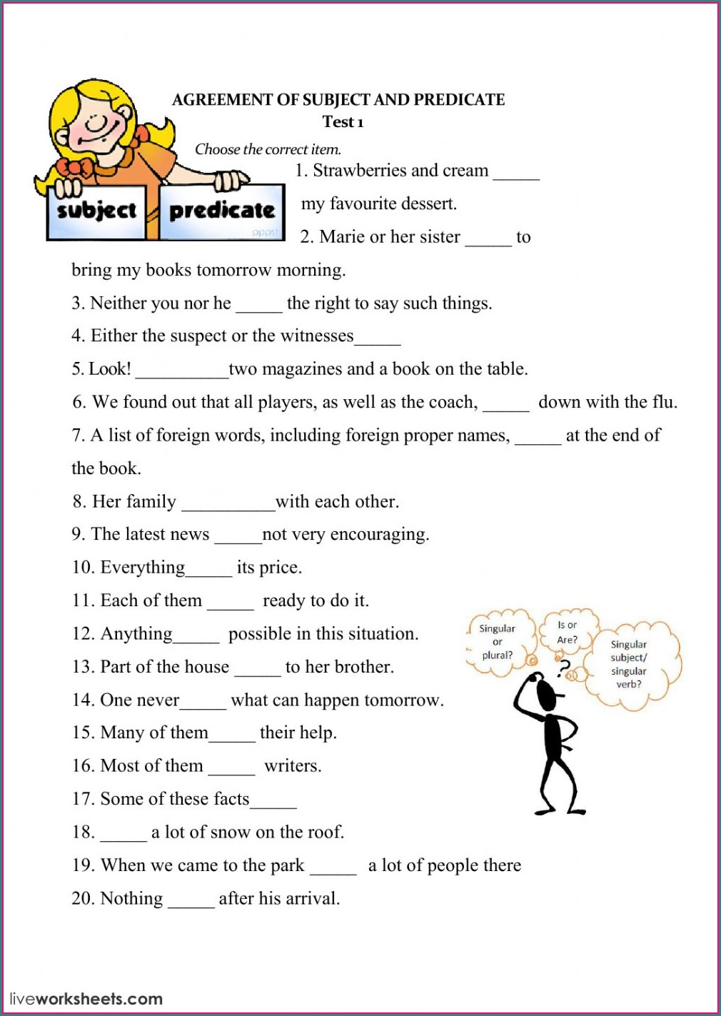 Subject Verb Agreement Worksheet For Grade 3 Pdf