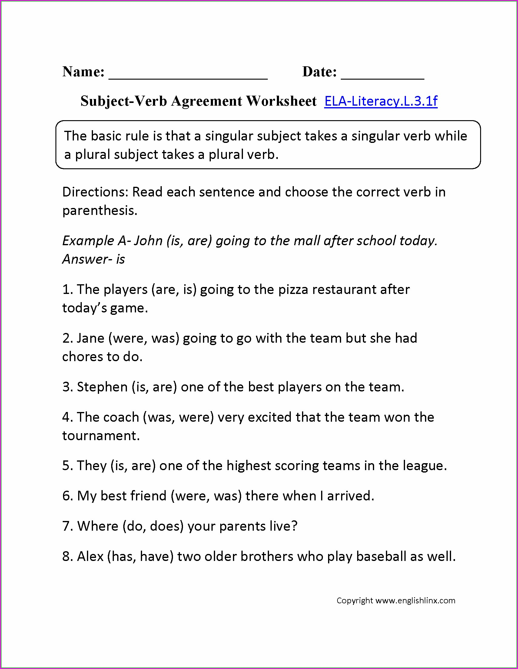 Subject Verb Agreement Worksheet Sixth Grade