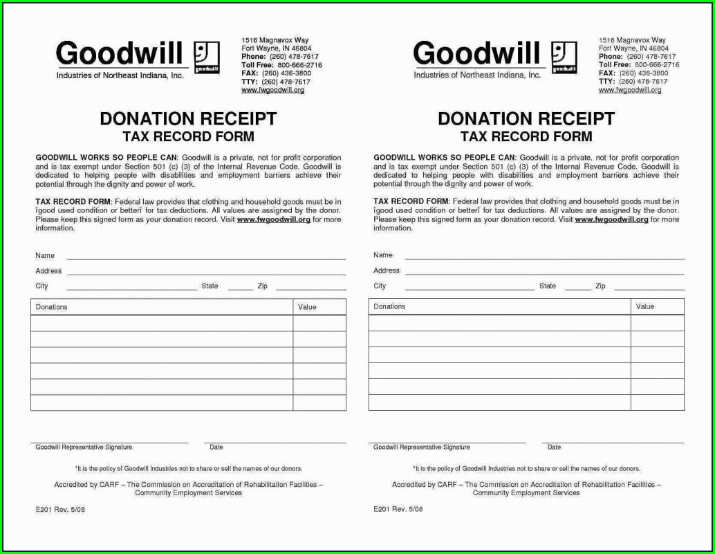 Tax Valuation Donated Goods Worksheet