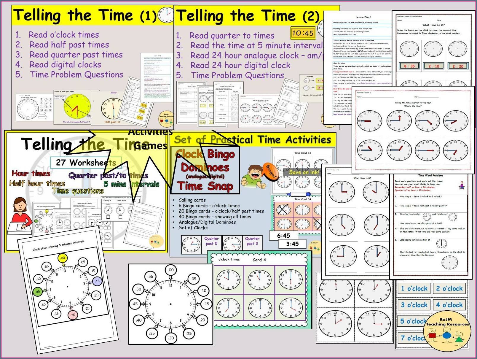 Teaching Analogue Time Worksheets