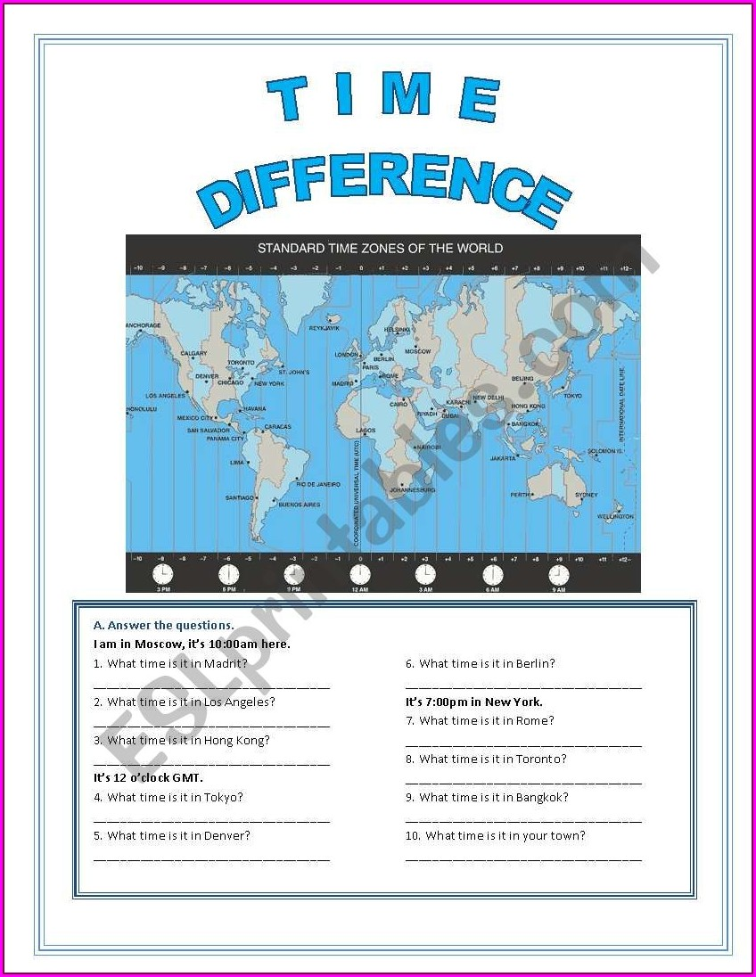 Teaching Time Zones Worksheets