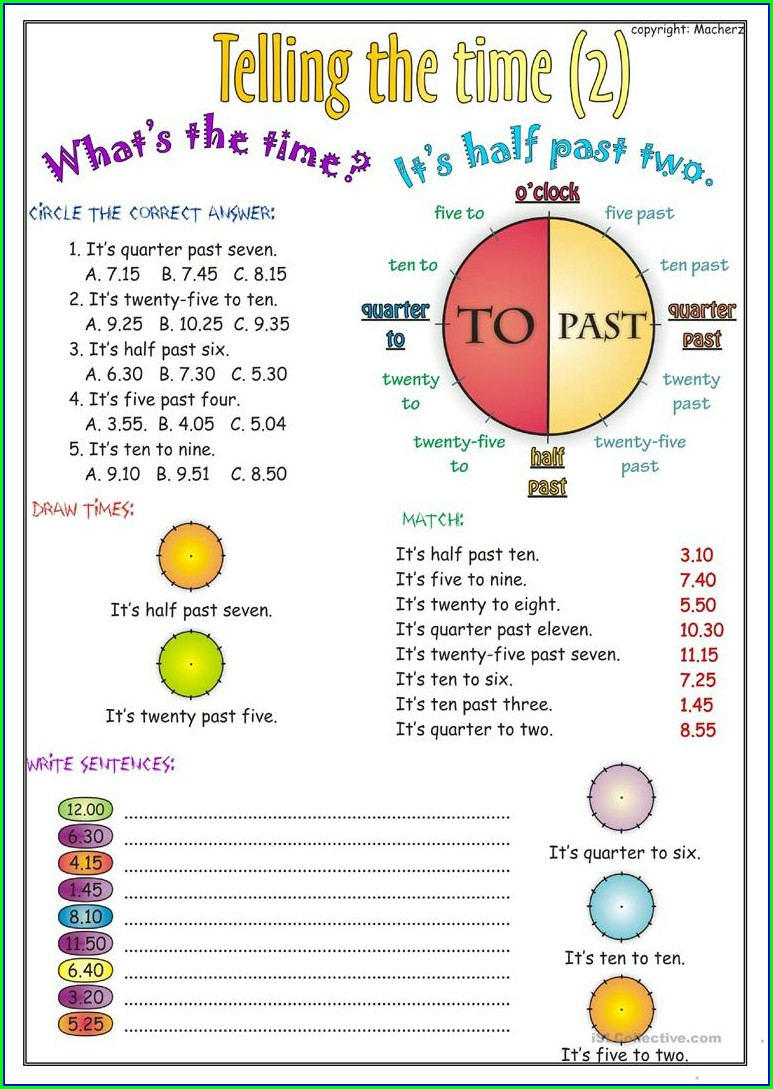 Telling The Time Worksheets Esl