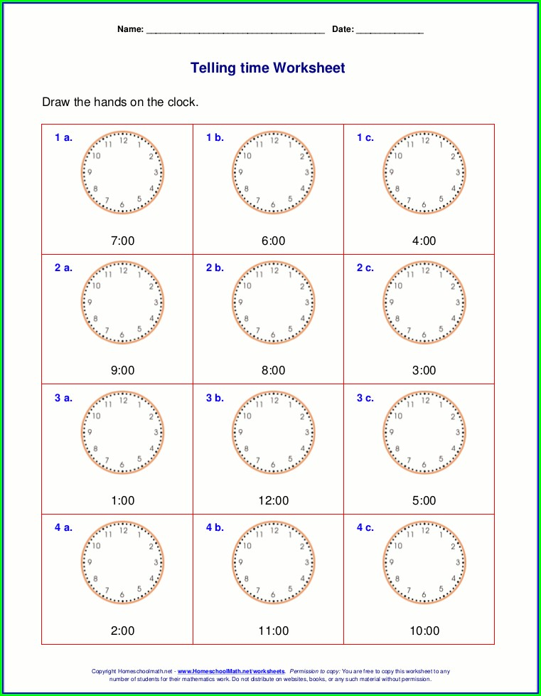 Telling The Time Worksheets For Grade 1