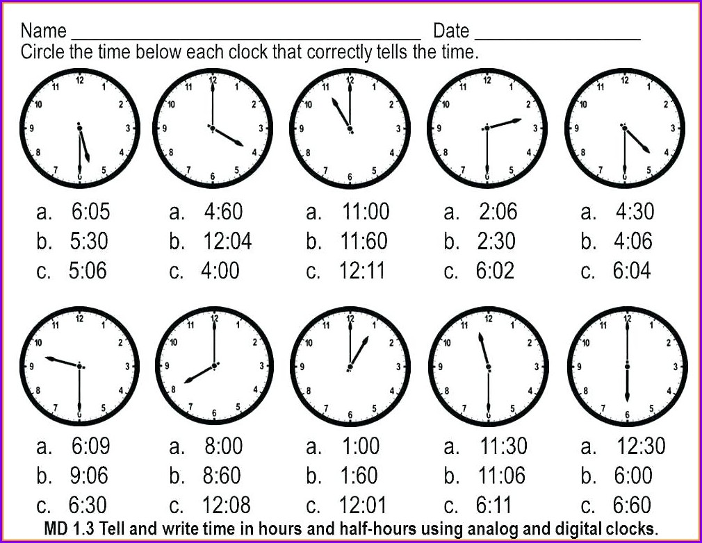 Telling Time Analog Clock Worksheets
