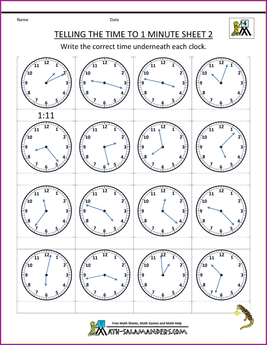 Telling Time Clock Worksheets Free