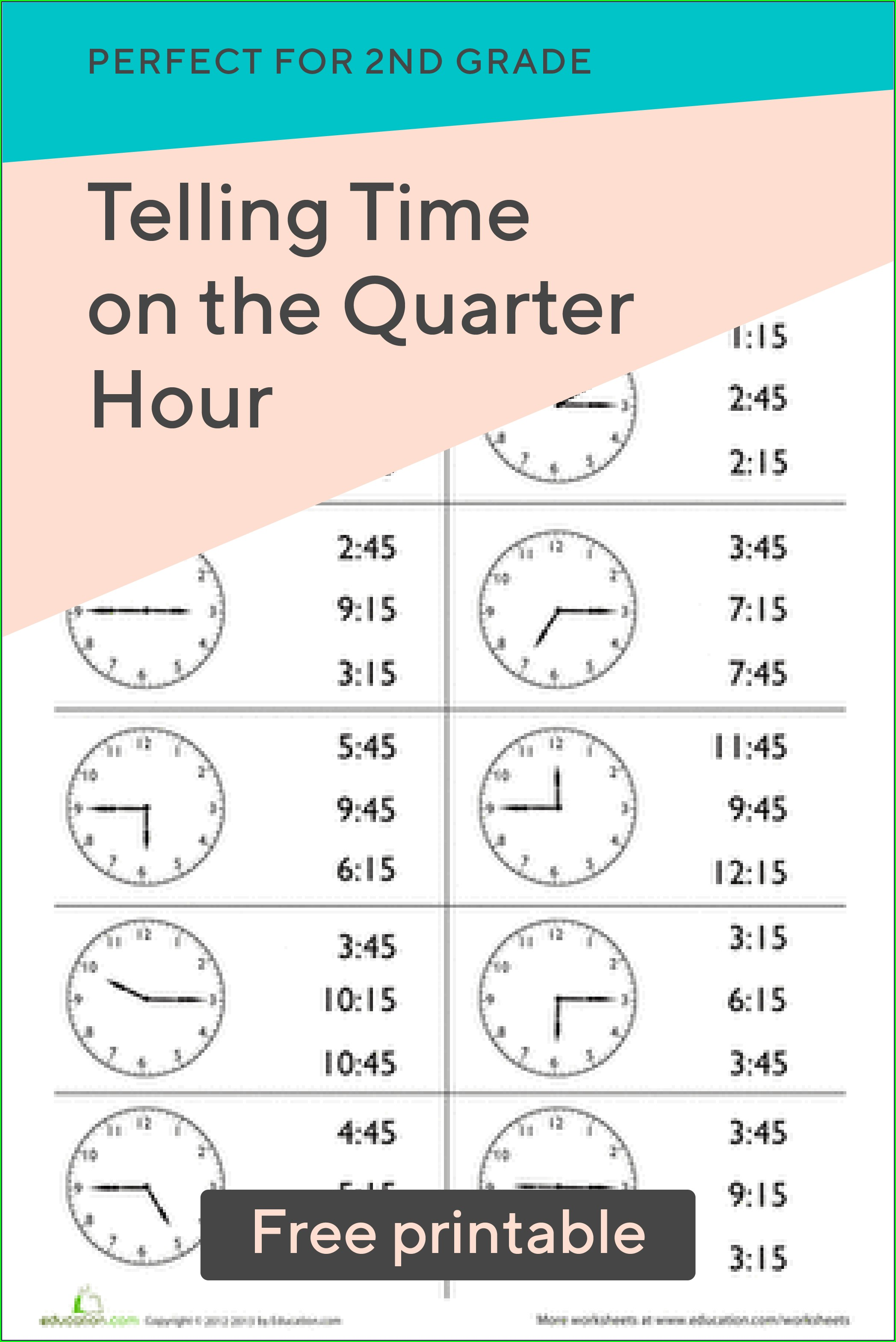 Telling Time On The Hour Worksheets