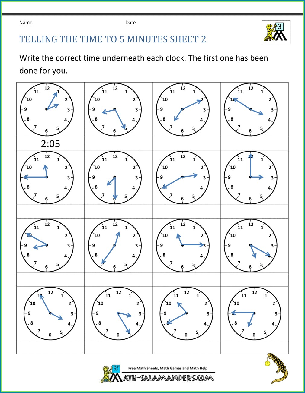 Telling Time Using Analog Clock Worksheet