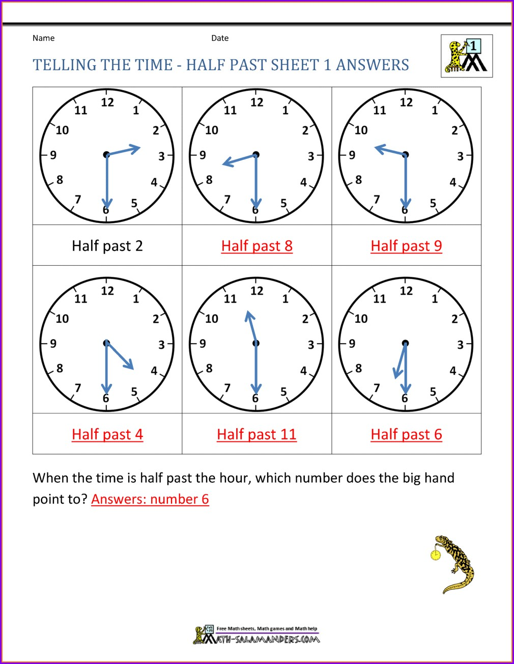 Telling Time Worksheets O'clock